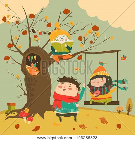 Happy kids ride on a swing in the autumn forest. Vector illustration
