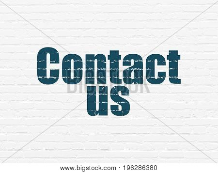 Marketing concept: Painted blue text Contact Us on White Brick wall background