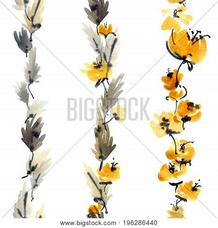 Watercolor and ink illustration of yellow flowers with leaves. Sumi-e u-sin painting. Seamless pattern.