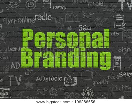 Marketing concept: Painted green text Personal Branding on Black Brick wall background with  Hand Drawn Marketing Icons