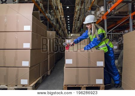 Female warehouse worker packing boxes in storehouse