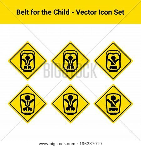 Car Belt For The Child Isolated On A White Background. Vector Icon