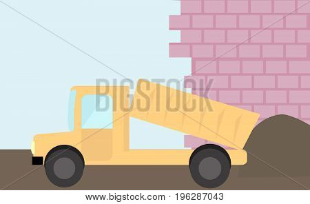 Truck yellow flat truck with ground in front of builded wall in vector.