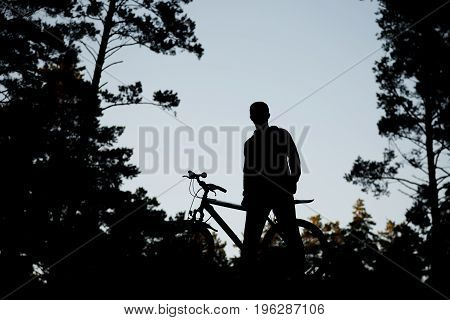 Silhouette Of The Cyclist On Road Bike