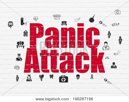 Healthcare concept: Painted red text Panic Attack on White Brick wall background with  Hand Drawn Medicine Icons