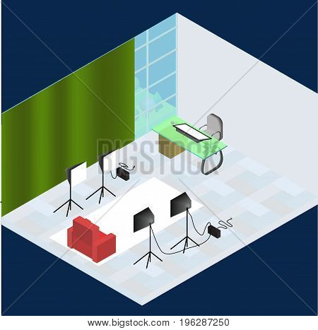 Isometric photo studio room interior with workplace equipment professional lighting and fotoaparat. 3d isometric creative fotostudio concept and beautiful view from window. All objects are isolated.