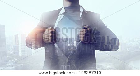 Exposure of businessman and modern city