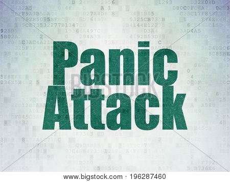 Medicine concept: Painted green word Panic Attack on Digital Data Paper background