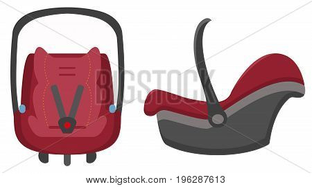 Black And Red Kid Car Seat, Front And Side Views Isolated On A White Background. Vector.
