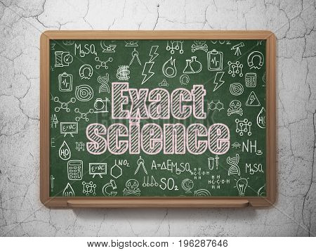 Science concept: Chalk Pink text Exact Science on School board background with  Hand Drawn Science Icons, 3D Rendering