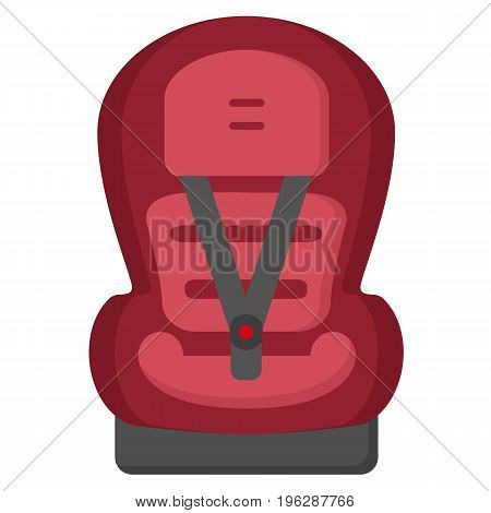 Black And Red Baby Car Seat, Front View Isolated On A White Background. Vector.