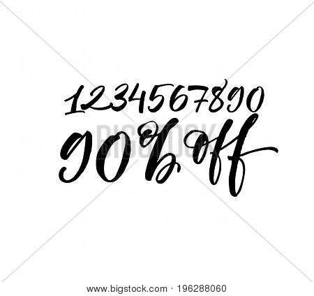 Set of vector numbers from 1 to 0 90% off phrase. Ink illustration. Modern brush calligraphy. Isolated on white background.