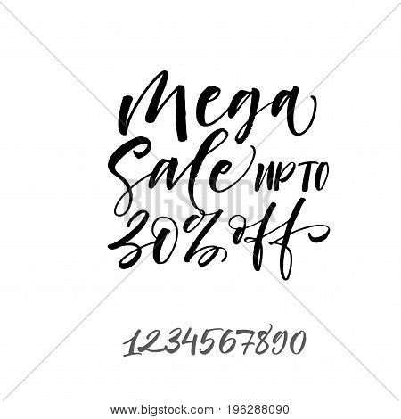 Mega sale up to 30% off phrase. Ink illustration. Modern brush calligraphy. Isolated on white background.