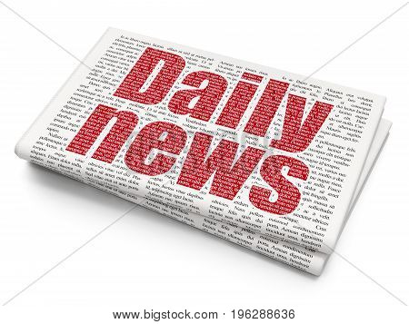 News concept: Pixelated red text Daily News on Newspaper background, 3D rendering