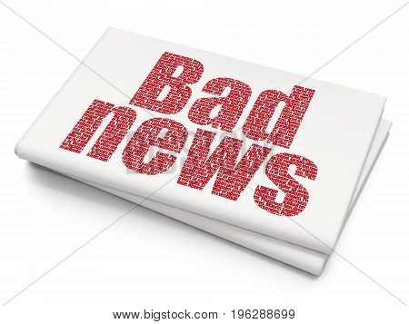 News concept: Pixelated red text Bad News on Blank Newspaper background, 3D rendering