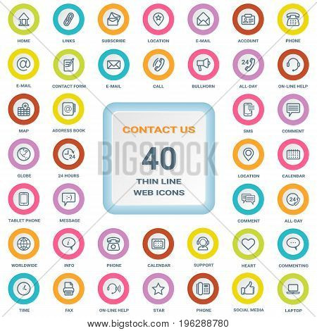 Contact Us - Set Of Thin Line Web Icons On A Circle Bordered Shields Isolated On A White Background. Vector Icon Set.