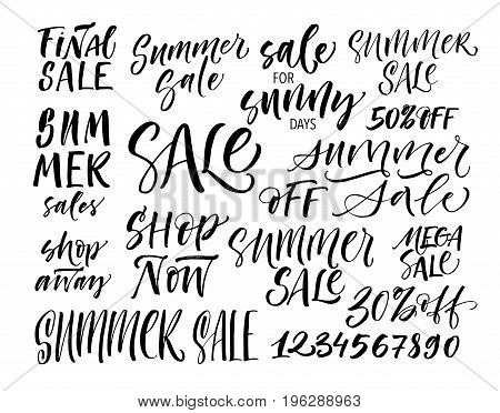 Set of summer sales phrase. Final sale shop away shop now number from 1 to 0 mega sale sale for sunny days and others. Ink illustration. Modern brush calligraphy. Isolated on white background.