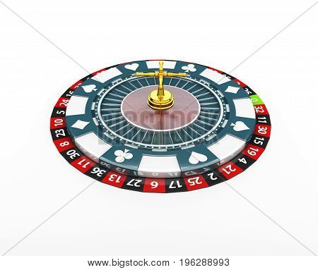 3D Illustration Of Casino Roulette Wheel On The Chip