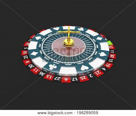 Casino Roulette Wheel. 3D Illustration Isolated Black