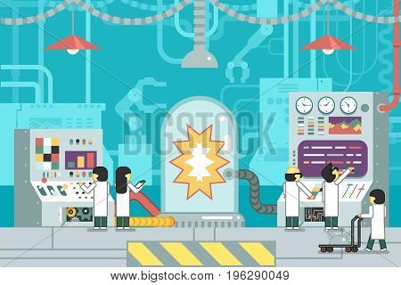 scientific laboratory experiment experience scientists work control panel analysis production development technology study business flat design concept illustration