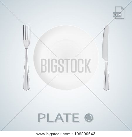 Plate With Fork And Knife Isolated On A Background. Illustration.