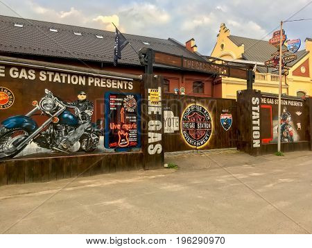LVIV UKRAINE - JUNE 05: Architectural landmark - Building of a pub for bikers in Lviv on June 05 2017 in Lvov Ukraine