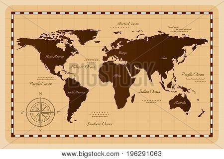 Old vintage world map. Vector illustration. Flat design.