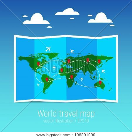 Travel and tourism map. Folded world map with airplanes and markers. Vector illustration. Flat design.