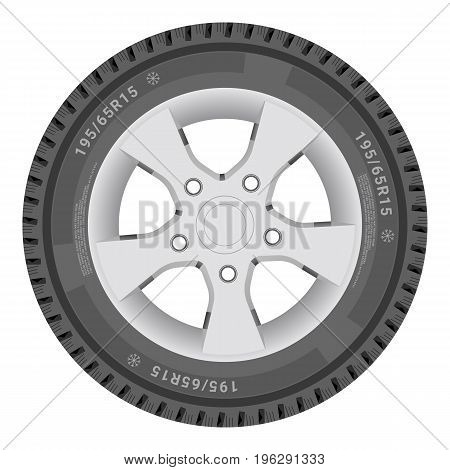 Car Wheel, Cartire Isolated On A White Background. Illustration.