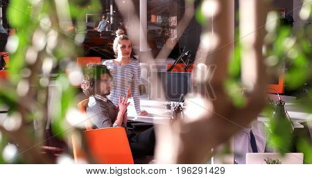 Group of business people discussing business plan  in the office