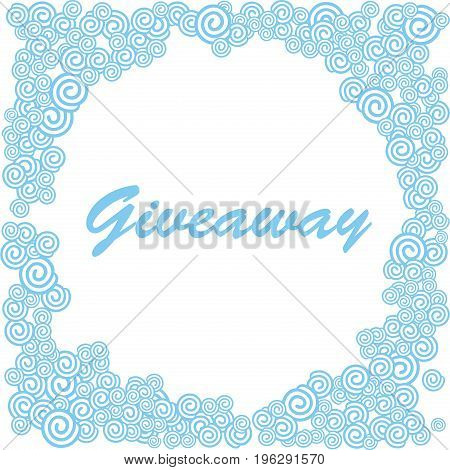 Giveaway banner, blue ahd white clouds, greate for social media