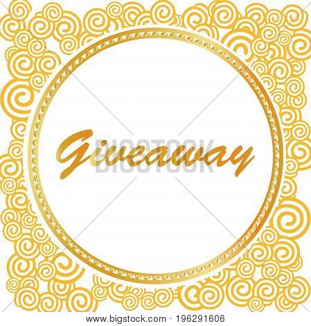Giveaway banner in gold and yellow colors, greate for social media