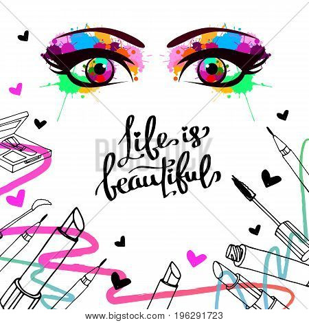 vector fashion female makeup design glamour brush