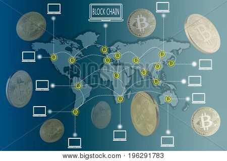 Blockchain and Bitcoin concept : bitcoin icons connecting altogether over world map with golden bitcoins floating around.