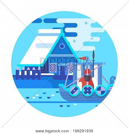 Norway country design template. World travel and showplace in Europe, European vacation collection. Flat vector illustration