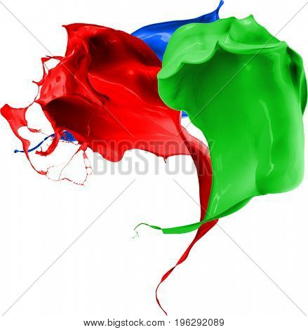 Colored splashes in abstract shape, isolated on white background. 3d rendering
