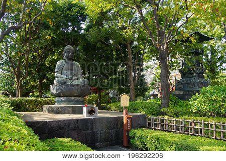 The buddha statue at Sensoji Shrine or Sensoji Temple Asakusa Tokyo Japan.