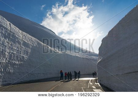Beautiful landscape view of giant snow wall Tateyama Alpine Route Japan Alps. Toyama Prefecture Japan.