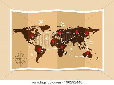 Travel and tourism map. Vintage world map. Vector illustration, flat design.