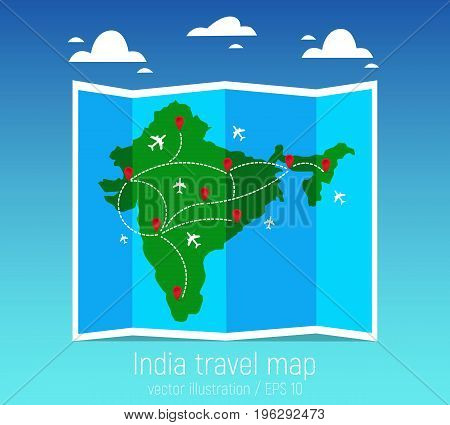 Travel and tourism map. Indian folded world map with airplanes and markers. Vector illustration. Flat design.