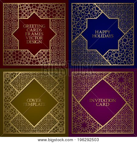 Greeting cards golden frames set. Vintage design of template in asian traditional style.