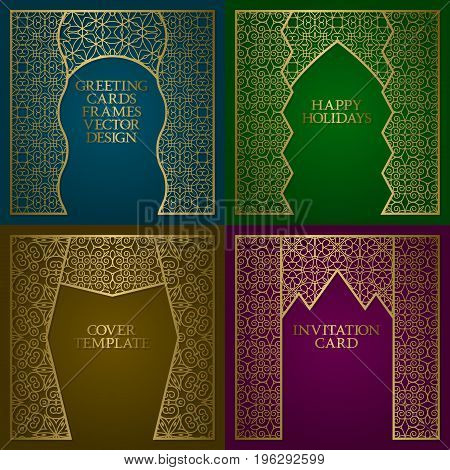 Greeting cards golden frames set. Vintage design of template in asian style.