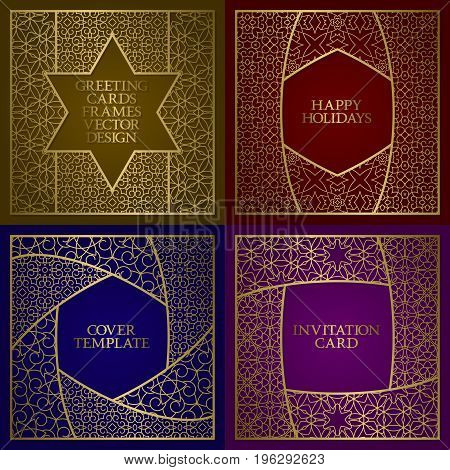 Greeting cards golden frames set. Vintage design of template in oriental traditional style.