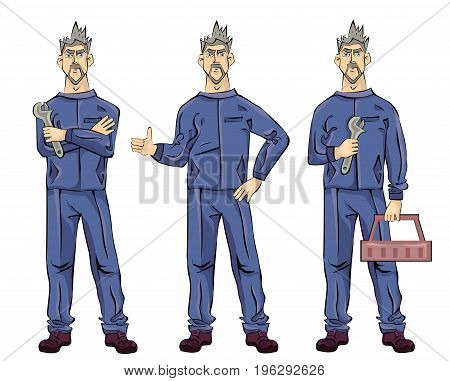 Mechanic or fitter plumber man holding a wrench, tool box and showing thumbs up gesture. Vector illustration set, isolated on white background.