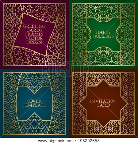Greeting cards golden frames set. Vintage design of template in arabic traditional style.