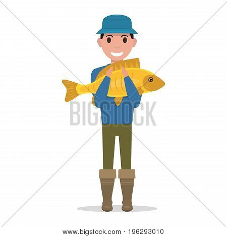 Vector illustration of a cartoon fisherman holding a fish. Isolated white background. A man is holding a large carp. Flat style. The fisher caught a big fish.