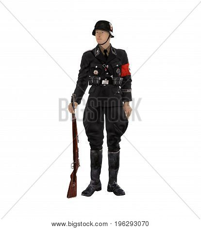 3D render of an enlisted German SS soldier in a black uniform