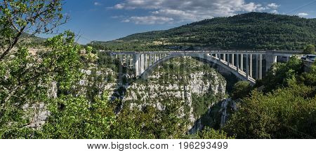 Large Panoramic View Of Bridge On Artuby River, Known As Pont De L'artuby. Gorges Du Verdon, Alpes-d