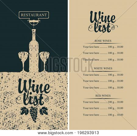 Vector wine list menu with bottle two glasses grapevine and price list. Calligraphic inscription wine list