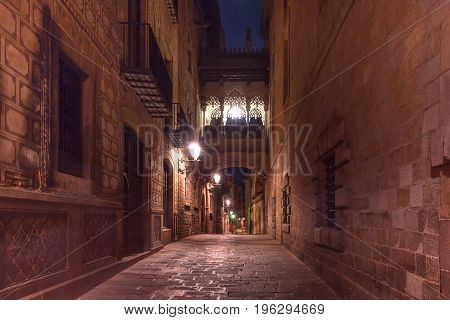 Cobbled medieval Carrer del Bisbe street with Bridge of Sighs in Barri Gothic Quarter at night, Barcelona, Catalonia, Spain